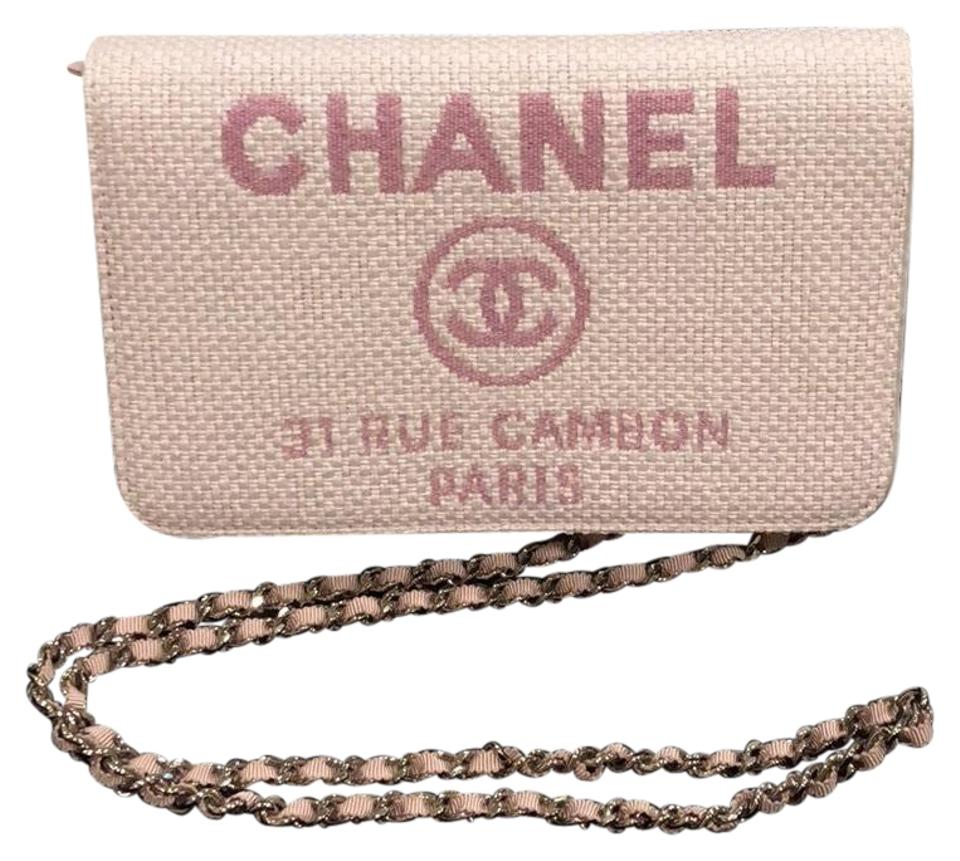 92e15a5c46b5 Chanel Wallet on Chain Deauville Pink Leather and Canvas Cross Body Bag