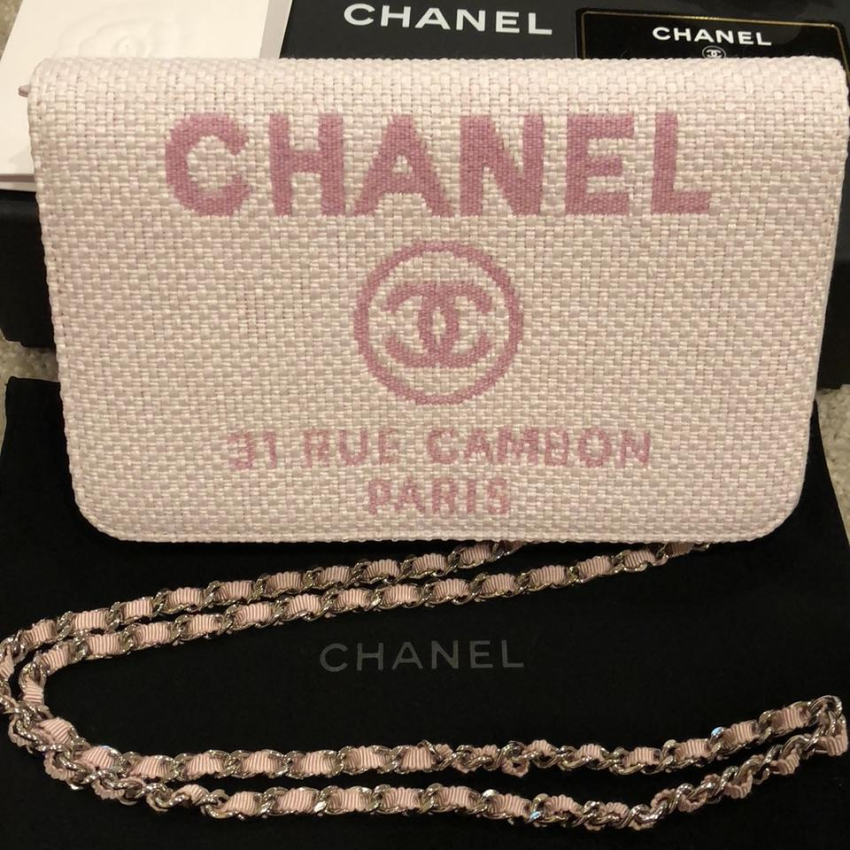 e47daec7d6e6 Chanel Wallet on Chain Deauville Pink Leather and Canvas Cross Body ...
