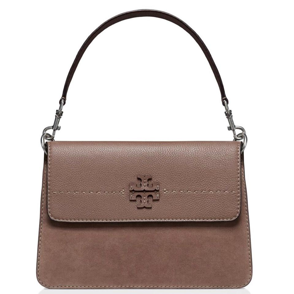 a6688e60e6e Tory Burch Mcgraw Mixed Silver Maple Suede Leather Shoulder Bag ...
