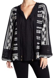 Rachel Zoe Dual Front Split Neck Bishop Sleeves Embroidered Crochet Super Embellished Top Black White
