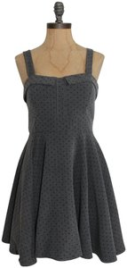 Modcloth Ixia Stretchy Polka Dot Fit And Flare Dress