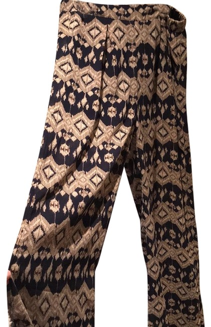 Blue Navy Patterned Long Flowy Pants Size 60 S 60 Tradesy Delectable Patterned Flowy Pants