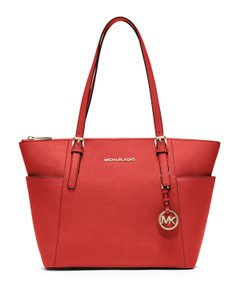 Michael Kors Saffiano Leather Jet Set Zipper Tote in Mandarin Red