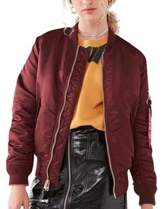 Alpha Industries Bomber Burgundy Coat Military Jacket