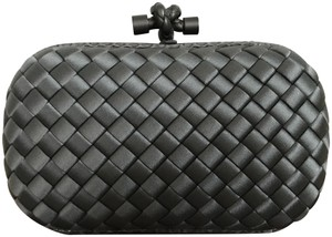 Bottega Veneta Woven Satin Knot Gray Clutch