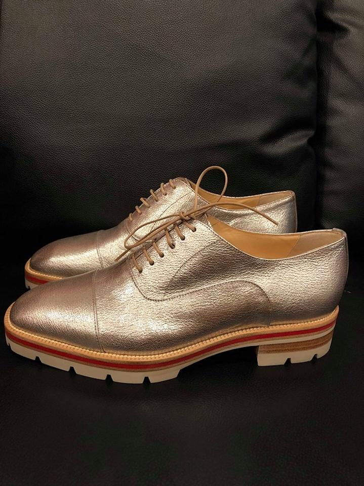 1d9b2186f56 Christian Louboutin Silver Hubertus Donna Leather Lace Up Tie Oxford Loafer  Sneaker Flats