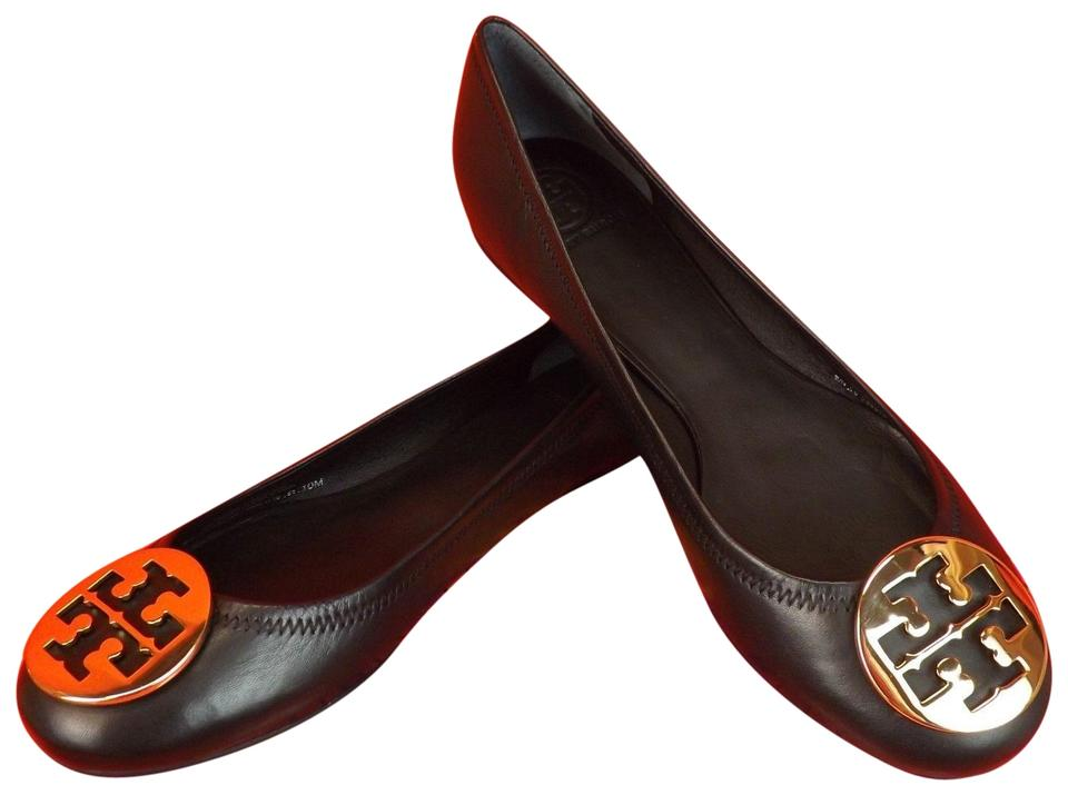 3d58e4009 Tory Burch Black Gold Mestico Leather Tone Reva Ballet Brazil Flats ...