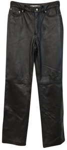 Tommy Hilfiger Leather Straight Pants Dark Brown