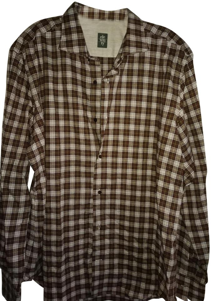 439cd9fe000 Brown Beige Men's 44 Made In Italy Checkered Shirt Button-down Top Size 14  (L) 78% off retail
