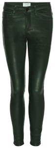 FRAME Luxury Rare Leather Lambskin Skinny Pants forest green