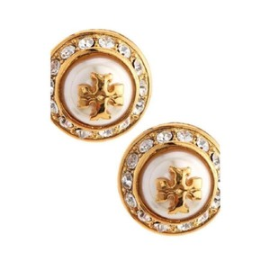 Tory Burch Natalie pearl logo Stud Earrings