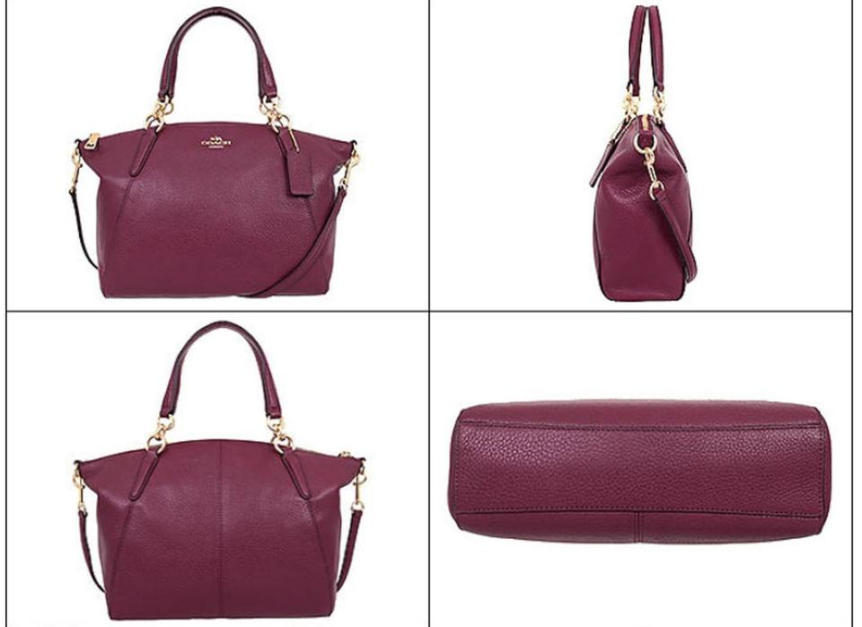 d5334dd29d70 Coach Kelsey Small Pebble F36675 Crimson Red Leather Satchel 52% off retail