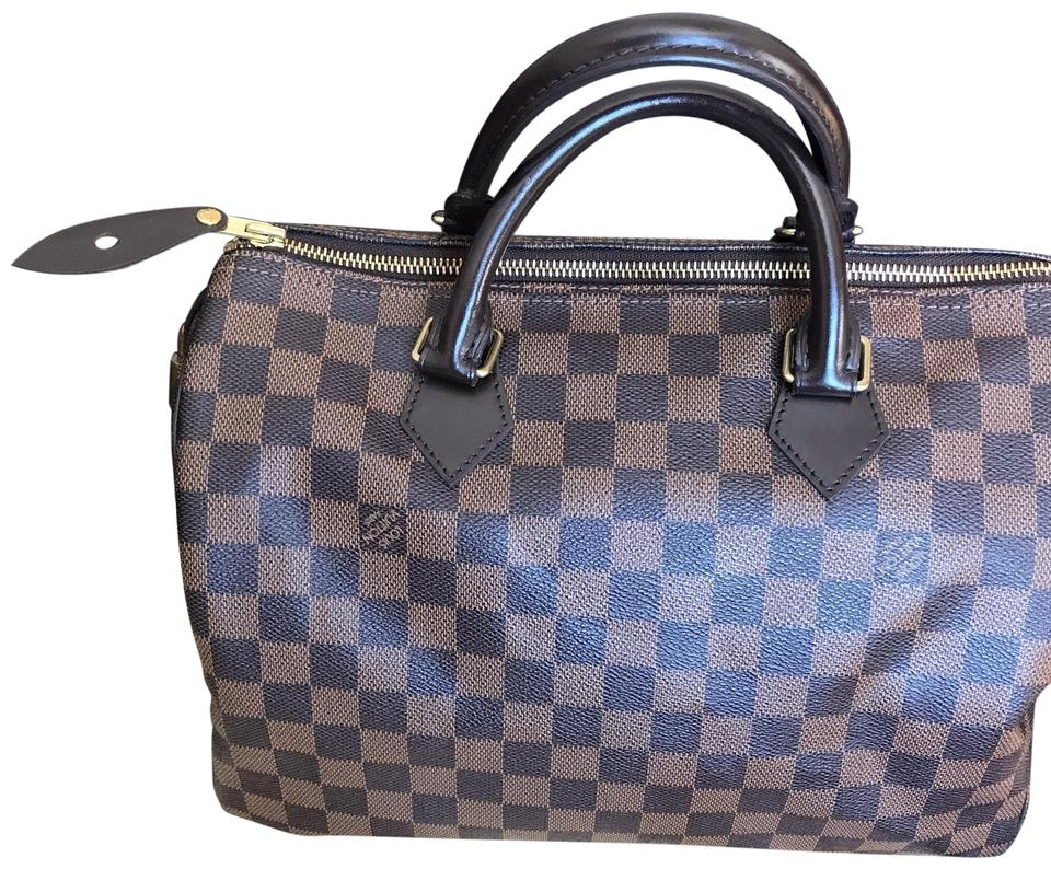 e5ebfd49dbeb Louis Vuitton Speedy 35 Damier Ebene Canvas Satchel - Tradesy