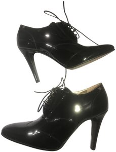 Chanel Heels Patent Leather Ankle Black Boots