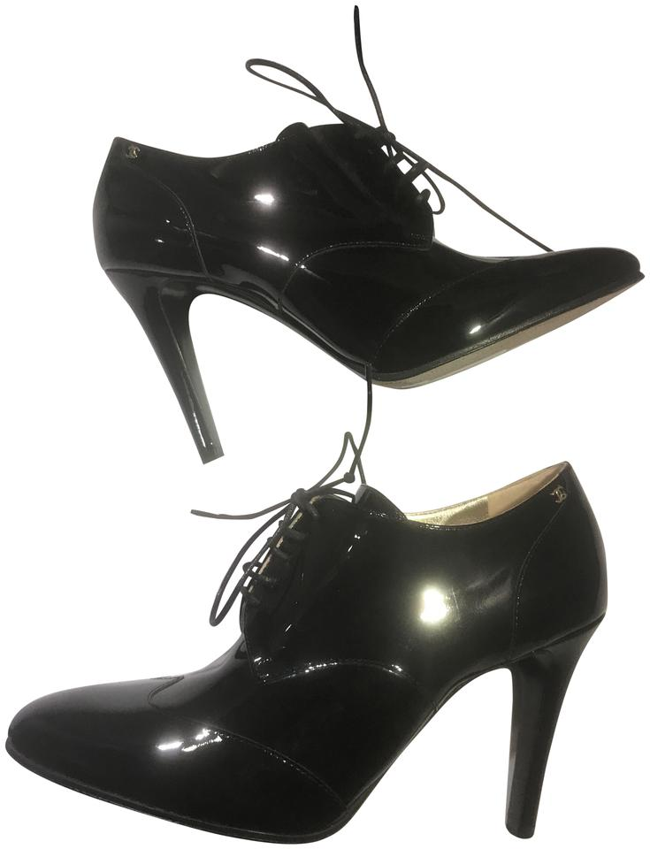 82ecae8d36 Chanel Black 17a Patent Leather Lace Up Ankle Heels Boots/Booties ...