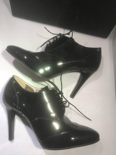 Chanel Heels Patent Leather Ankle Black Boots Image 1