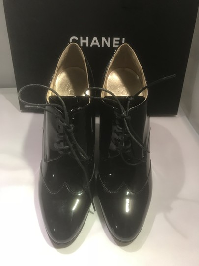 Chanel Heels Patent Leather Ankle Black Boots Image 10