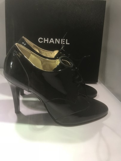 Chanel Heels Patent Leather Ankle Black Boots Image 3