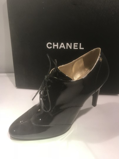 Chanel Heels Patent Leather Ankle Black Boots Image 4