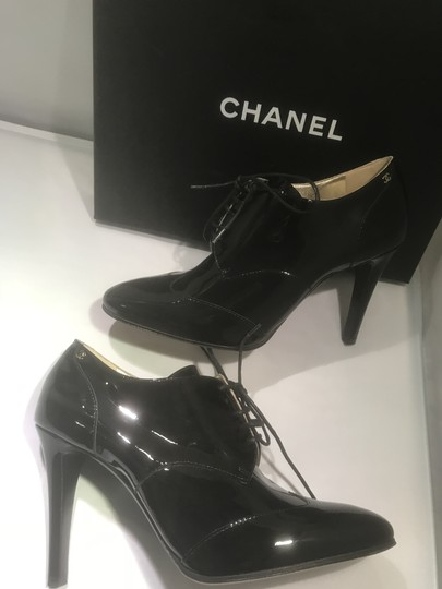 Chanel Heels Patent Leather Ankle Black Boots Image 5