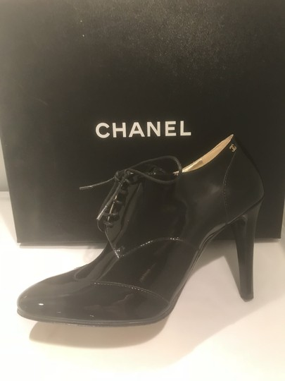 Chanel Heels Patent Leather Ankle Black Boots Image 7