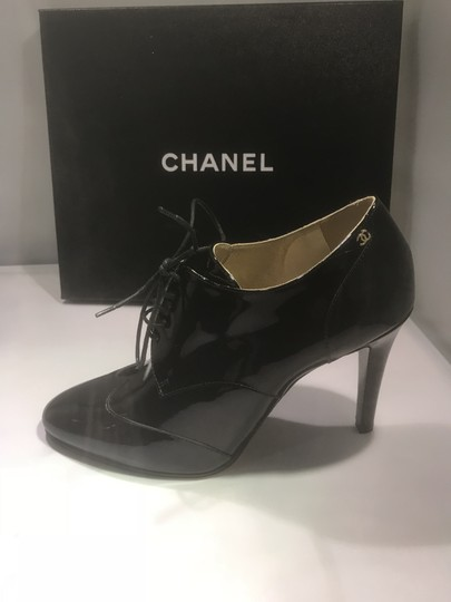 Chanel Heels Patent Leather Ankle Black Boots Image 8