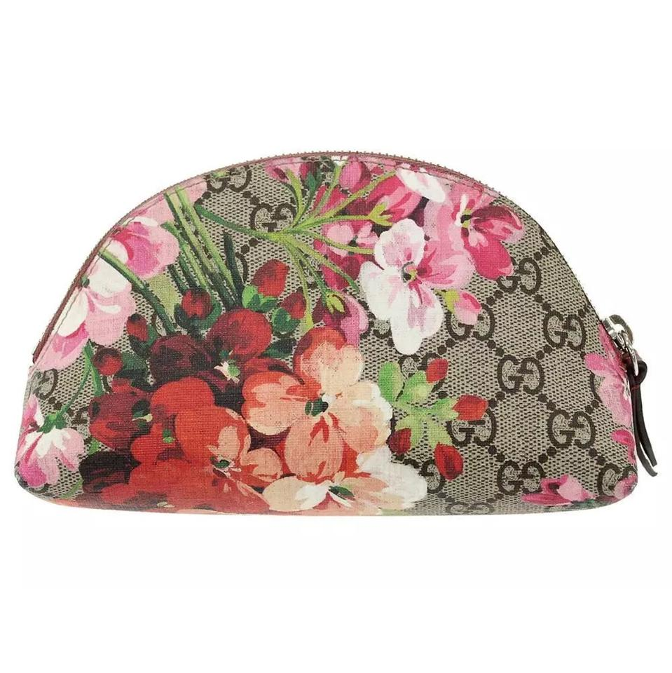 511877b4351 Gucci Blooms Cosmetic Pouch Brown Canvas Clutch - Tradesy