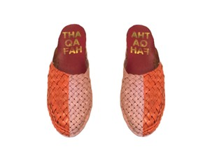 Thaqafah Shoes Woven Leather Slippers Handmade Vintage Pink/orange Mules