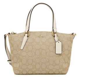 Coach Kelsey Crossbody Exploded Rep Legacy Jaquard Satchel in Chalk