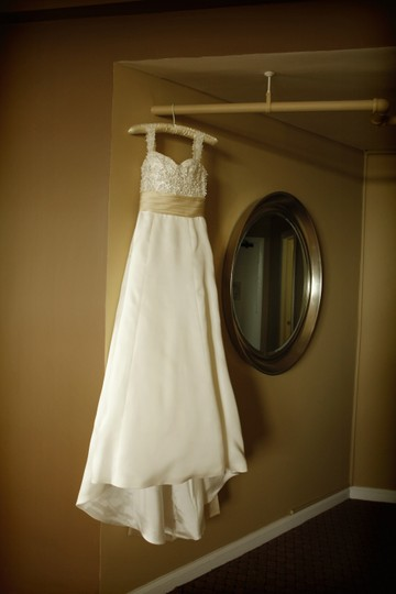 Monique Lhuillier Ivory with Sand Belt Organza Silk Corset Edie Feminine Wedding Dress Size 2 (XS) Image 2