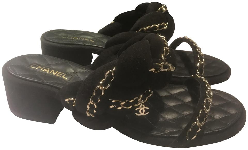 dac5232f2fc1 Chanel Black 17p Braided Suede Chain Strap Quilted Mule Sandals Size ...