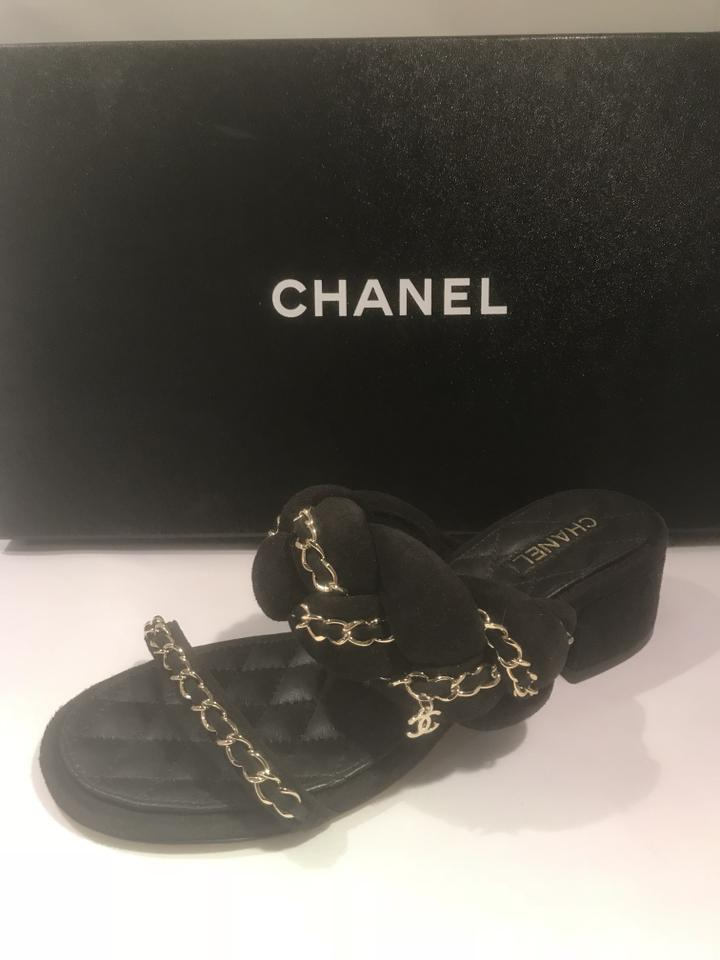 0ad05713140779 Chanel Cc Chain Quilted Charm Braided Black Sandals Image 11.  123456789101112