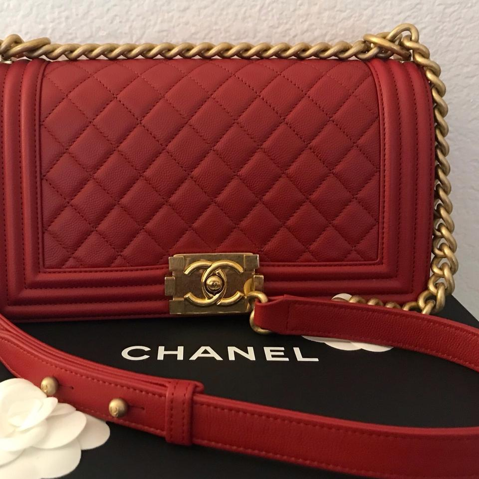 307f4b1e Chanel Boy Old Medium with Antique Gold Hardware. Red Caviar Leather  Shoulder Bag