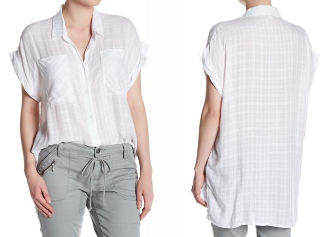 Supplies by Union Bay Cool Woven Fabric Chest Pockets Spread Collar Short Cuffed Sleeves Front Button Closure Button Down Shirt Oversized Image 1