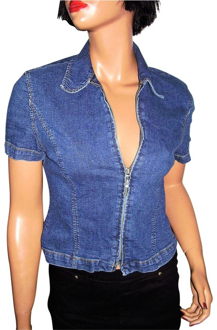 Preload https://img-static.tradesy.com/item/22712660/ax-armani-exchange-blue-denim-s-blouse-size-4-s-0-1-650-650.jpg