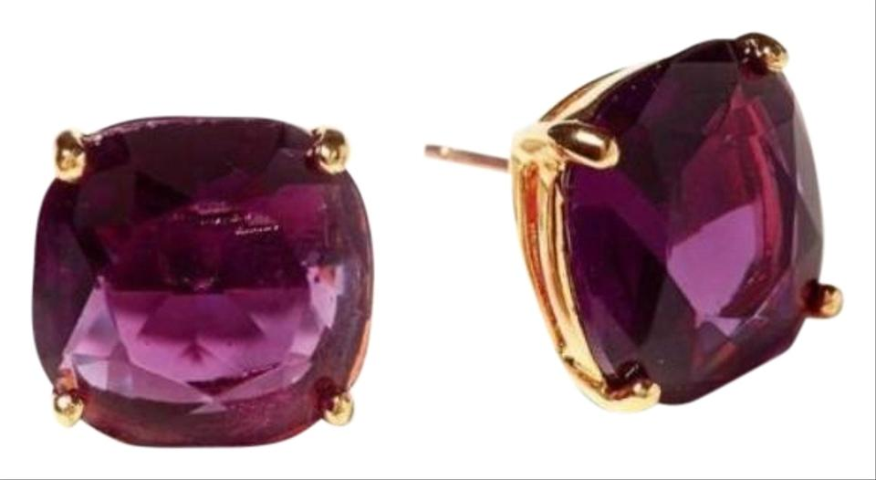 Kate Spade Nwot Amethyst Purple Rhinestone Square Stud Earrings