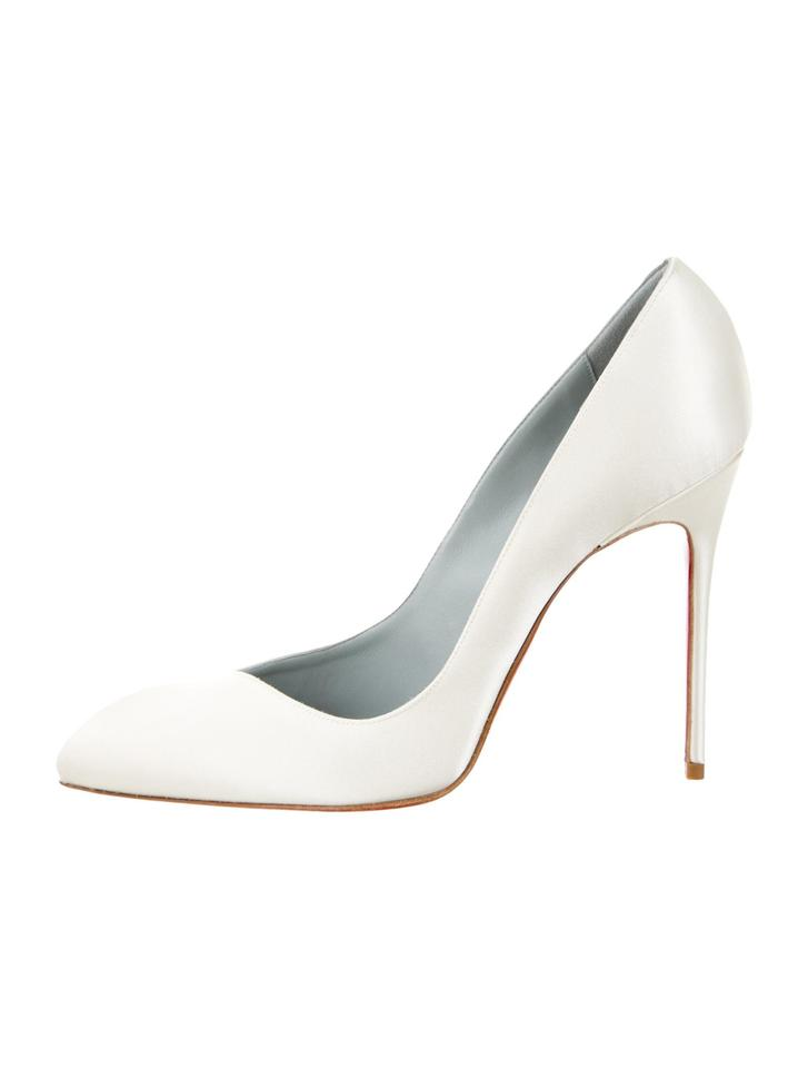 Christian Louboutin Off White Satin Pointed-toe Pumps Formal Size US ... f35a6eefa