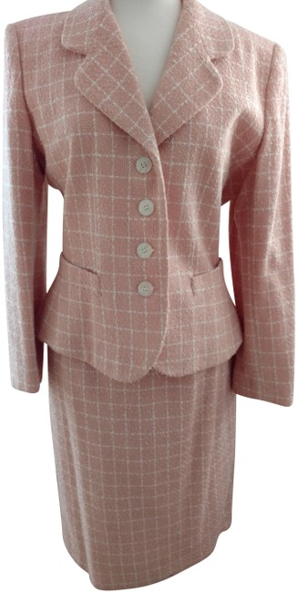 Item - Peach/Ivory Check Woven Skirt Suit Size 14 (L)