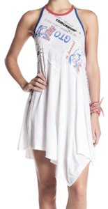 Free People short dress White Crisscross Back Red Blue Pleated Flare Skirt Crew Neck Fun Text Graphics on Tradesy