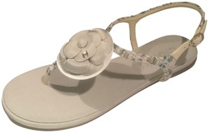 Chanel Cc Thong T Strap Tweed Camellia Light Grey/Multi Sandals