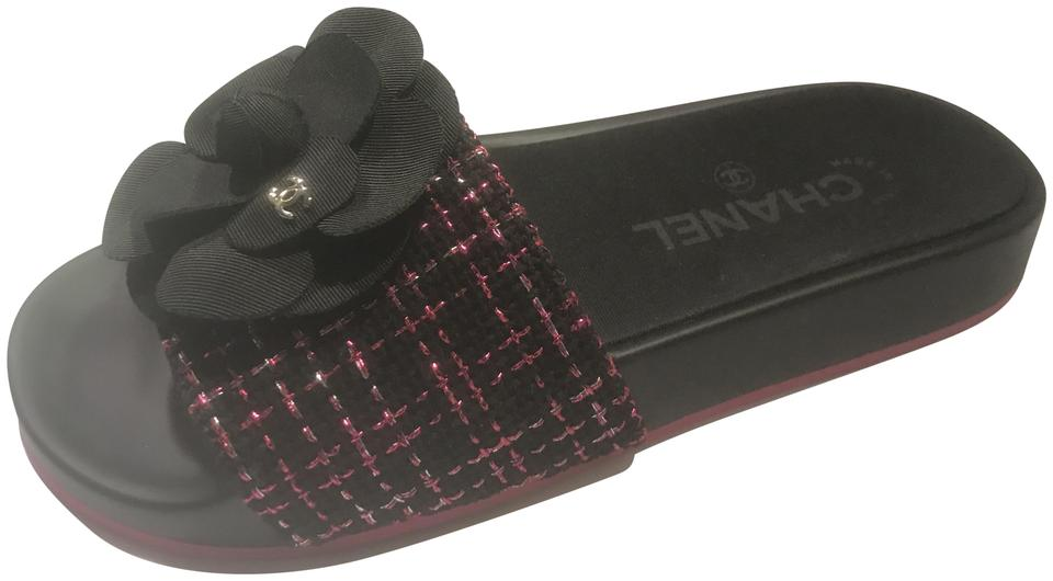 700db15c4ef6 Chanel Black Pink 17s Tweed Grosgrain Camellia Flat Slides Sandals. Size  EU  35 (Approx.