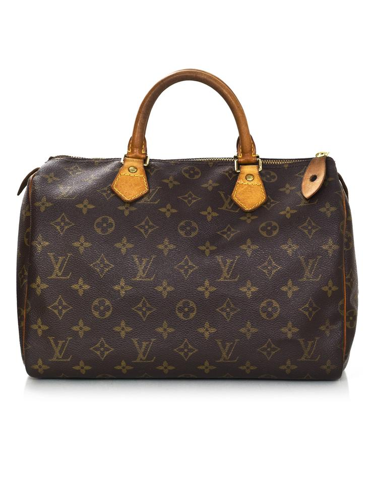 louis vuitton speedy vintage monogram 30 brown coated canvas tote tradesy. Black Bedroom Furniture Sets. Home Design Ideas