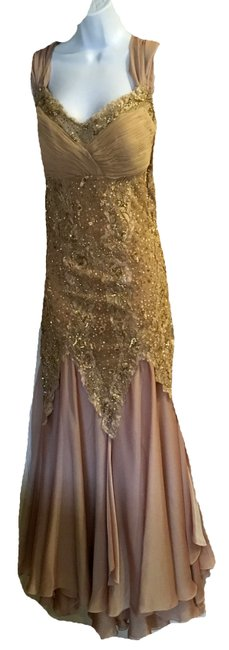 Preload https://img-static.tradesy.com/item/22713356/rosegold-new-lace-satin-flowing-gown-long-formal-dress-size-16-xl-plus-0x-0-0-650-650.jpg