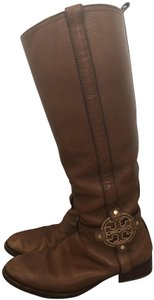 Tory Burch Leather Gold Tan Boots