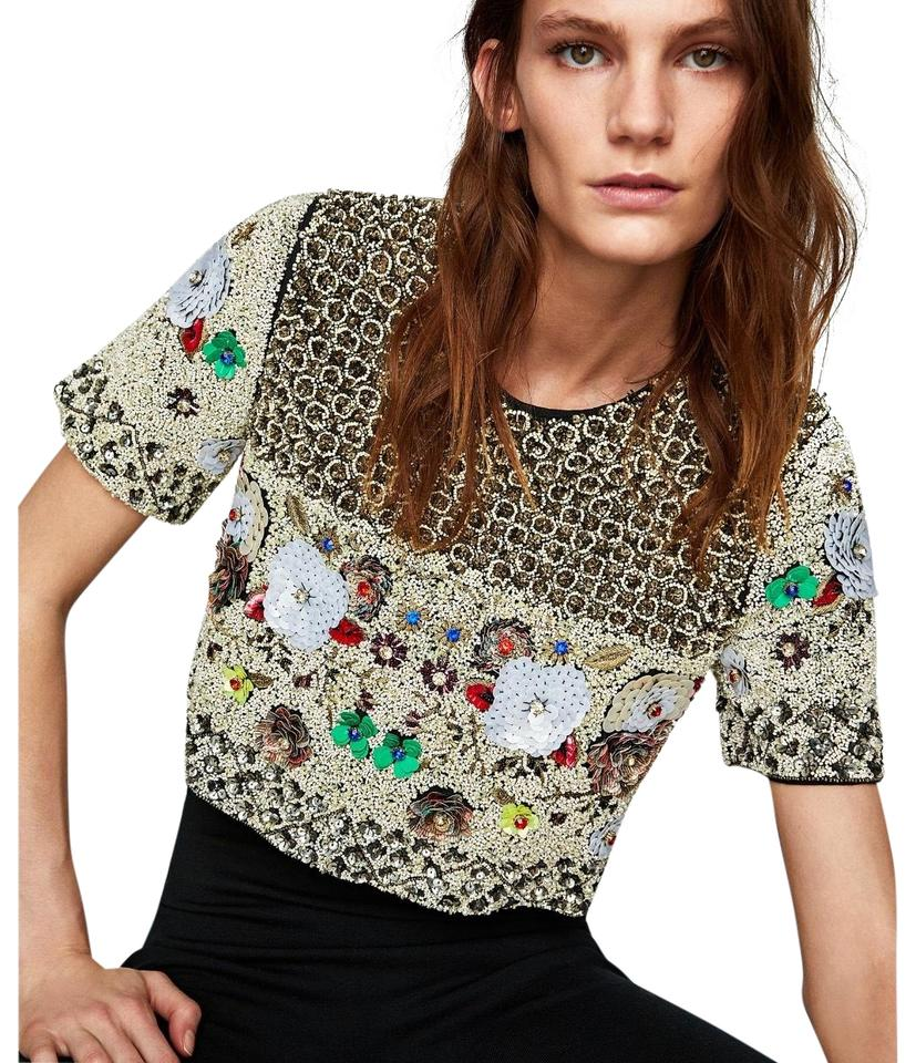 6b8b1ff87a5484 Zara Limited Edition Sequin Beaded Embellished Shirt Black Gold Top ...