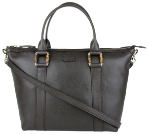 Gucci Leather Handbag Bamboo Detail Tote in Dark Brown