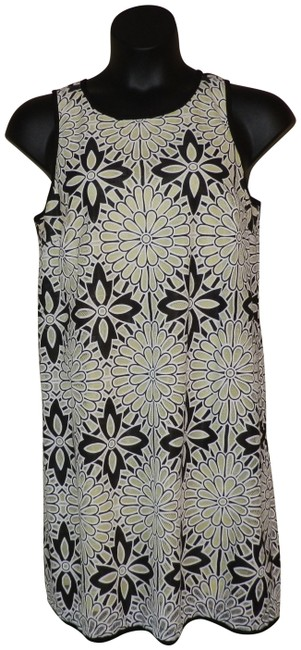 Item - Black White & Yellow Sleeveless Short Casual Dress Size 14 (L)