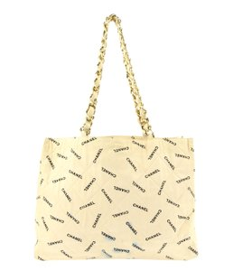 Chanel Shopping Logo Tote in Beige and Black