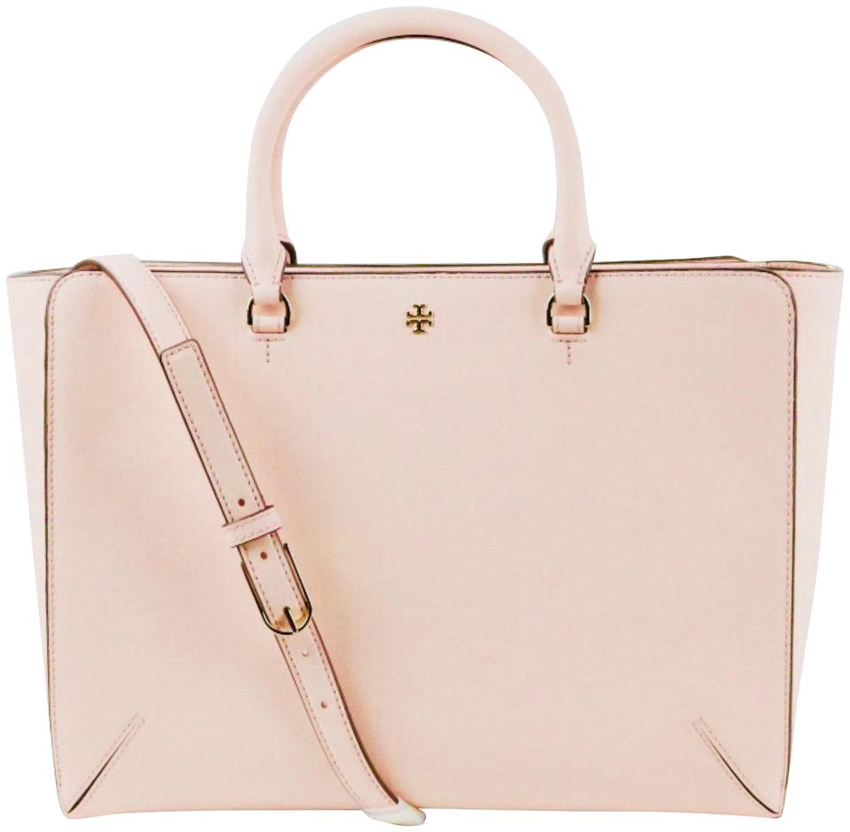 03f9c10154f Tory Burch Robinson Large Zip Pale Apricot Saffiano Leather Tote ...