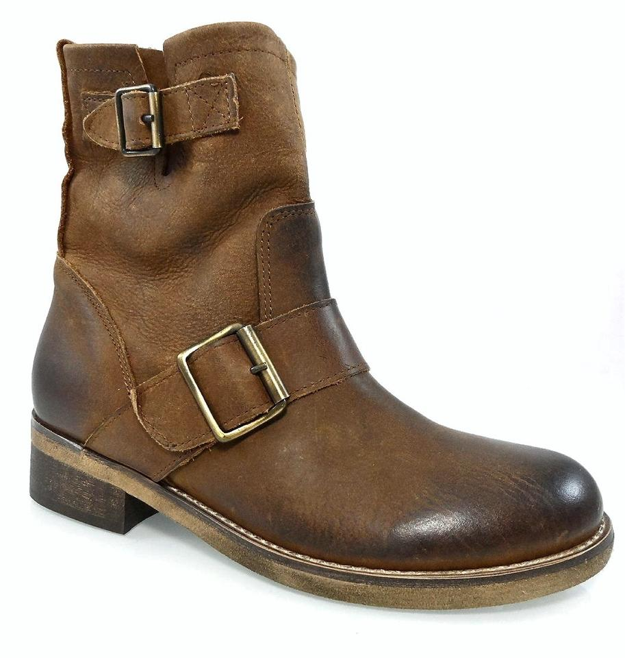 Brown Made Buckles In Italy Leather Moto Biker Riding Buckles Made Mid Shaft Boots/Booties ab8ba1